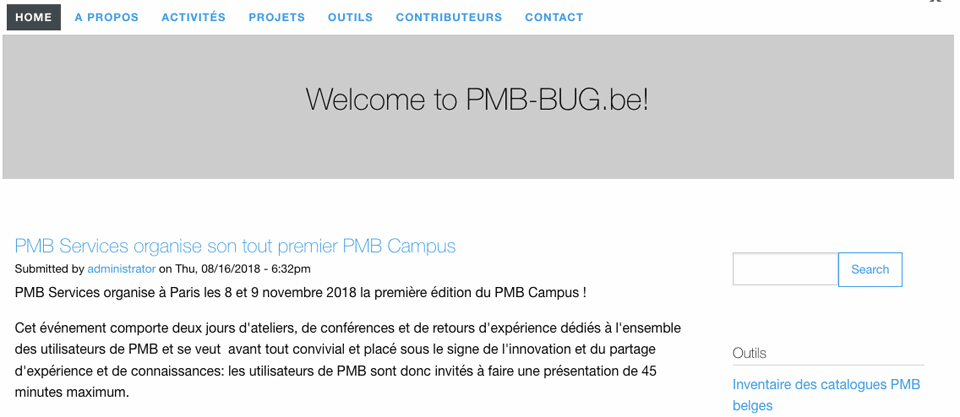 Homepage du site PMB-BUG 2018
